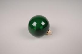 X369T1 Boîte de 12 boules en verre vert D6cm