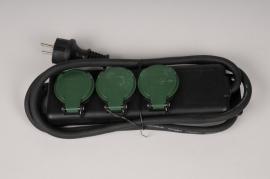 X370KI Black outdoor power strip 3 sockets L26cm
