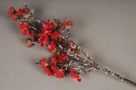 x370mi Branche de prunus artificielle rouge glacé H45cm