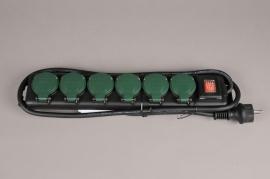 X371KI Black outdoor power strip 6 sockets L40cm