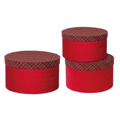 X392UN Set de 3 boîtes rouge écossais D26cm H15cm