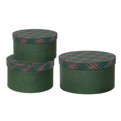 X393UN Set de 3 boîtes vert écossais D26cm H15cm