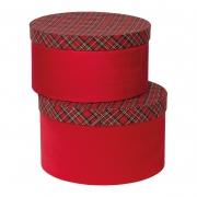 X395UN Set de 2 boîtes rouge écossais D28cm H16cm