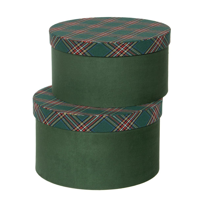 X396UN Set de 2 boîtes vert écossais D28cm H16cm