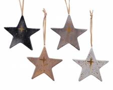 X399KI HangingTerracota Star gold/black/grey assorted D9cm