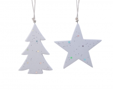 X407KI Matching tree / star in white enamelled terracotta D15cm