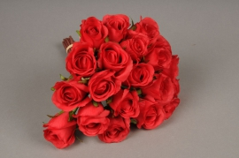 x416mi Bouquet de 20 roses artificielles rouge H30cm