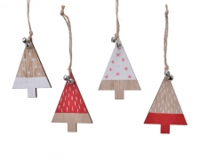 X417KI Hanging natural wooden christmas tree assorted H10cm