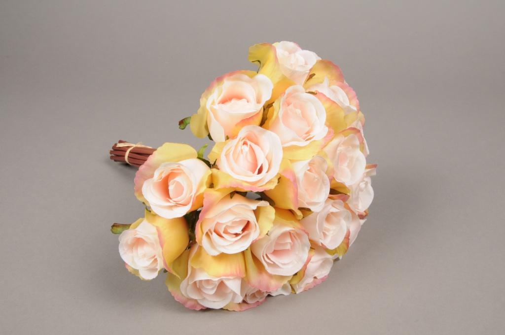 x417mi Bouquet de 20 roses artificielles rose H30cm