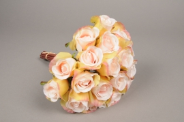 x417mi Bouquet de 20 roses artificielles rose H30cm