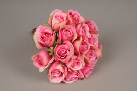 x418mi Bouquet de 20 roses artificielles rose H30cm