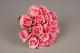 x418mi Bouquet de 20 roses artificielles rose H30cm