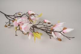 x420ee Magnolia artificiel rose et blanc H110cm