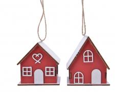 X428KI Maison en bois peint rouge assortie à suspendre H7,5cm