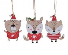 X429KI Fox / Bear / Squirrel wood assorted hanging H10cm