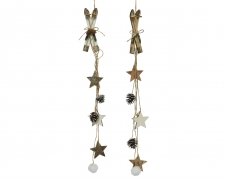 X434KI Decorative garland with skis pine cones L54cm