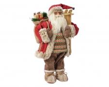 X445KI Père Noel habit rouge et pull rayé vert H60cm