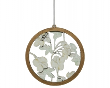 X44KI Cercle en bois avec décoration de feuilles D10cm