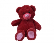 X450KI Ours en peluche rouge avec nez et pieds H25cm