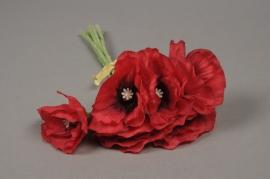 x451mi Bouquet de 6 coquelicots artificiel rouge H27cm
