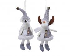 X454KI Figurine souris/renne en tissu à suspendre assortie H20cm
