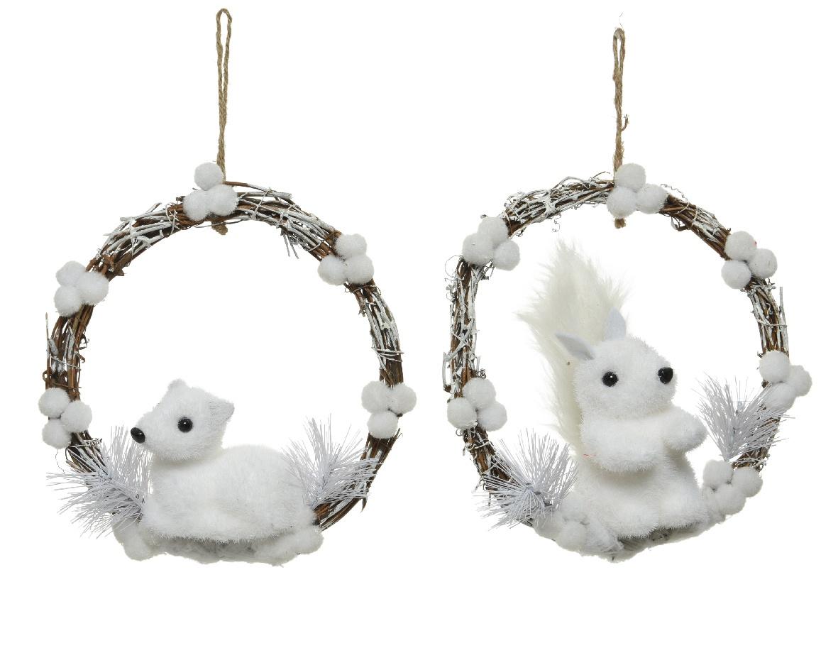 X455KI Couronne à suspendre avec lapin/écureuil blanc D22cm