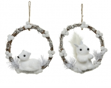 X455KI Hanging wreath with white rabbit /squirel D22cm
