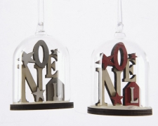 X456KI Assorted glass bell with wooden christmas decoration D6cm