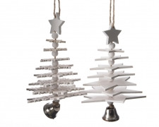 X457KI White wooden Christmas tree H15cm