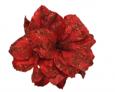 X458KI Amaryllis en velours rouge avec paillettes sur clip D28cm