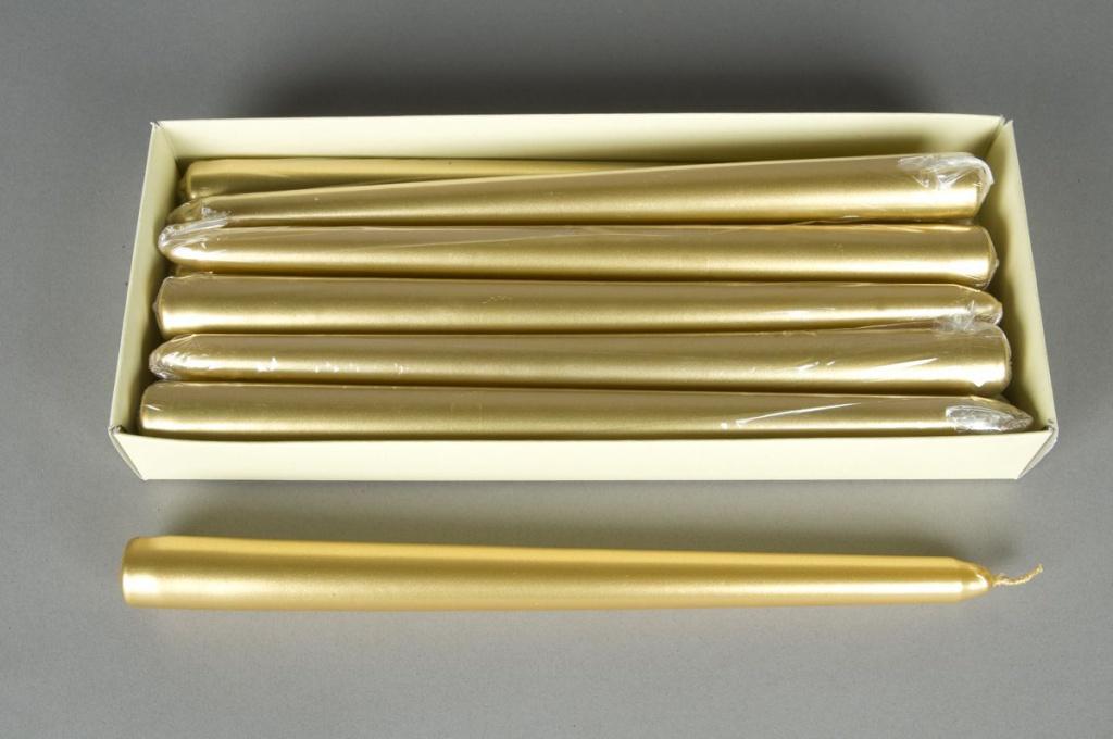 X459KI Boite de 12 bougies flambeau or