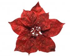 X461KI Poinsettia en velour rouge avec paillettes sur clip D26cm