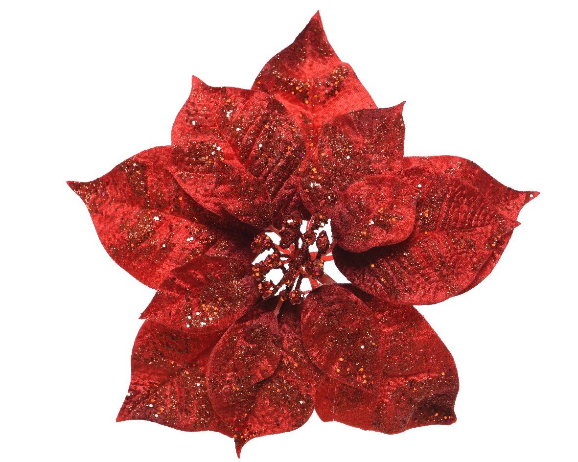 X461KI Poinsettia en velours rouge avec paillettes sur clip D26cm