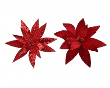X462KI Red velvet poinsettia with sequins on clip assorted D33cm