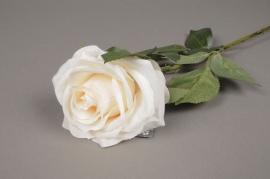 x473nn Rose artificielle crème H64cm
