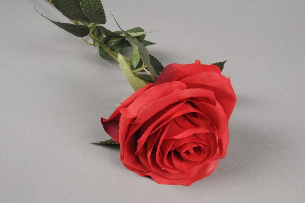 x475nn Artificial red rose H64cm