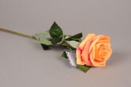 x476nn Rose artificielle orange H64cm
