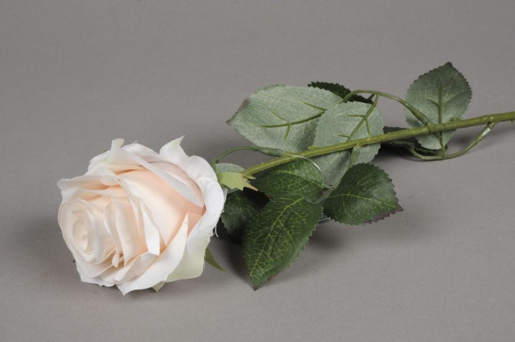 x477nn Rose artificielle rose pâle H64cm