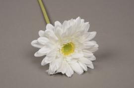 x489di Gerbera artificiel blanc H48cm