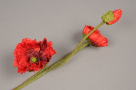 x496di Artificial red poppy H42cm