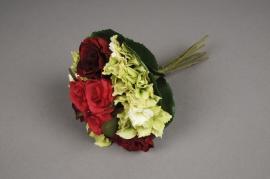 x504jp Bouquet de roses rouges et d'hortensia blanc artificiel H27cm