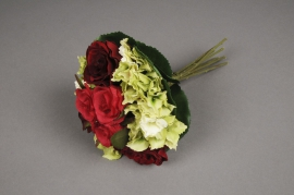 x504jp Bunch of red roses and white artificial hydrangea H27cm