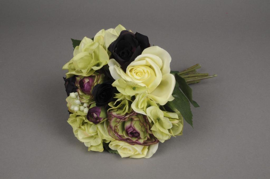 x509jp Bouquet de roses renoncule et hortensia artificiel H28cm
