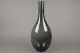 X532W3 Vase en verre bouteille fumé noir D25cm H70cm