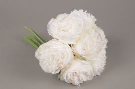 x565jp Bunch of 7 artificial white peony H30cm