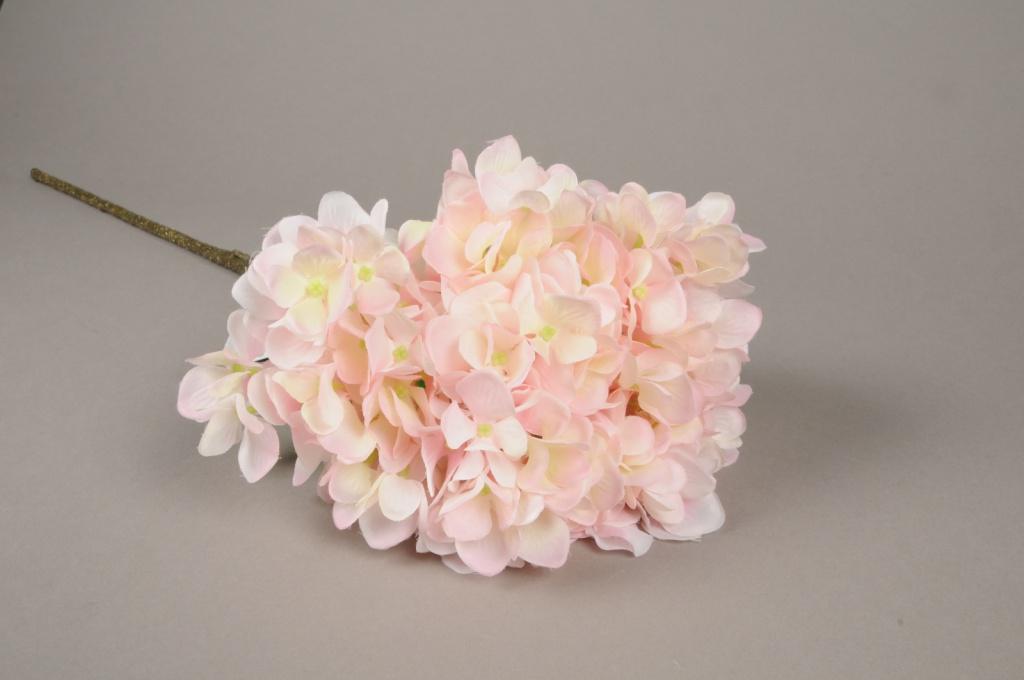 x568mi Hortensia artificiel rose H67cm