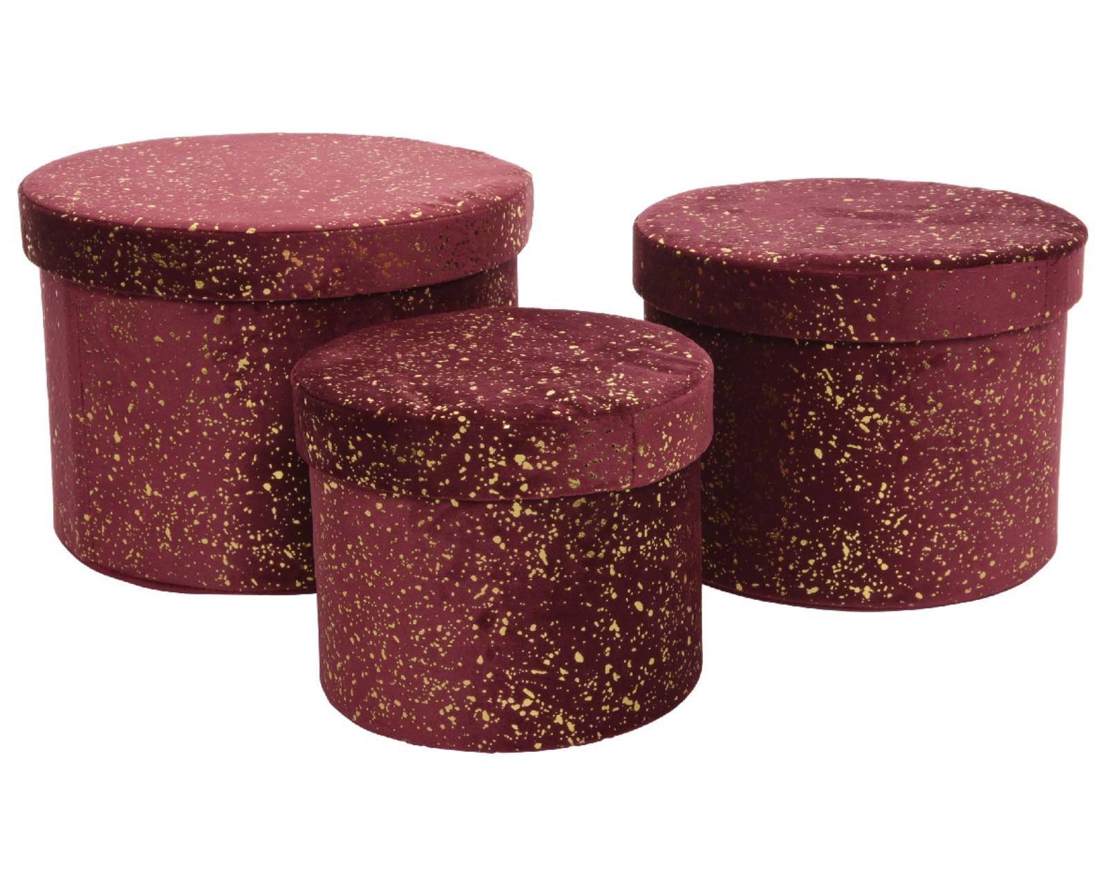 X601KI Set de 3 boîtes bordeaux D26cm H18cm