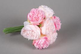 x605jp Bunch of 7 artificial pink peony H30cm