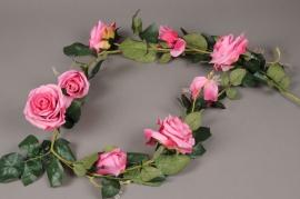 x608nn Guirlande de roses artificielles fuchsia L145cm