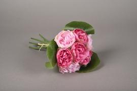 x624jp Bouquet de 7 pivoines artificielles rose H23cm